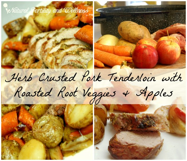 Herb Crusted Pork Tenderloin with Roasted Root Veggies and Apples.